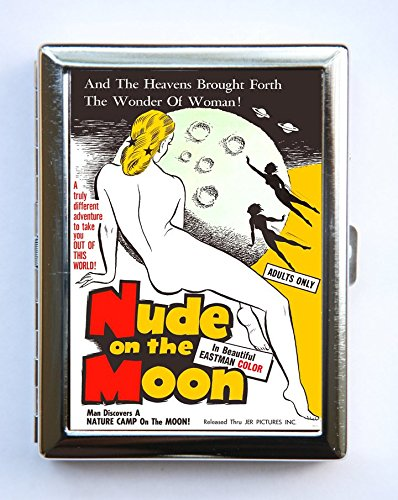 Nude on the Moon Case Wallet Business Card Holder pulp retro