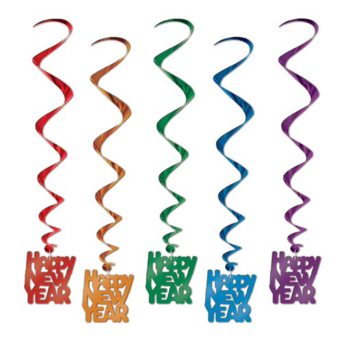 Assorted Color Happy New Year Whirls
