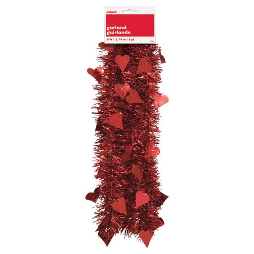 9ft Tinsel Valentine's Day Heart Garland
