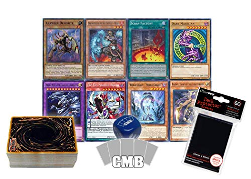 Yu-Gi-Oh! Cards 50 Card Lot. Includes Holos & Rares! Comes with Yugioh Card Sleeves and an Official CMB Dice