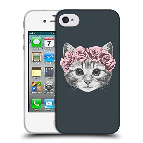 GoGoMobile Coque de Protection TPU Silicone Case pour // Q05020606 Fleur chat Arsenic // Apple iPhone 4 4S 4G