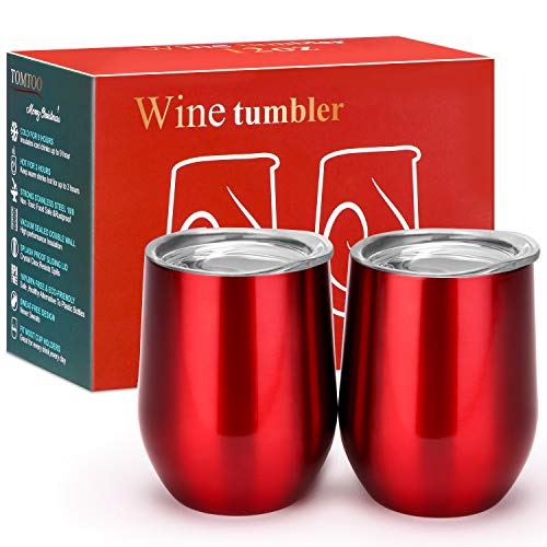 TOMTOO Insulated Wine Tumbler With Lid,12 oz Double Wall Vacuum Insulated Stainless Steel Wine Glasses for Wine, Coffee, Drinks, Champagne, Cocktails,2 Pack