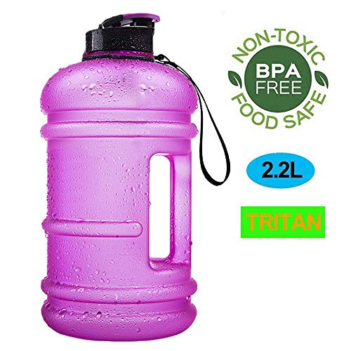 ENINE Water Jug 2.2L Large Sport Water Bottle Big Capacity Leakproof Container BPA Free Plastic with Carrying Loop Fitness for Camping Training Bicycle Hiking Gym Outdoor (Tritan-2.2L-Matte Purple)