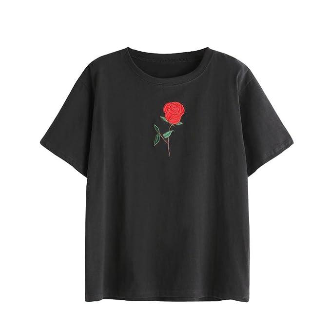 WOCACHI Damen Sommer T-Shirts Frauen Sommer Eine Rose Stickerei Bedruckte  Bluse Kurzarm O-