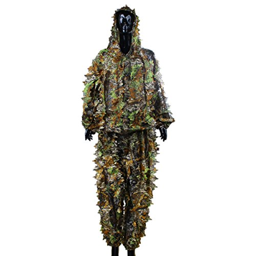 Leafy Wear Suit - 3D Leafy Hooded Camouflage Hunting Suit for Jungle Hunting ,Shooting, Airsoft, Wildlife Photography or Halloween