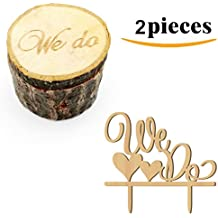 Kalevel 2pcs We Do Wedding Ring Box Cake Cupcake Toppers Rustic Wooden Ring Bearer Box Vintage Personalized Funny Wedding Cake Toppers Decorations Cake Insert Card Ring Holder for Wedding Ceremony