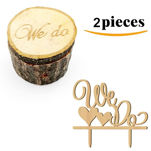 Kalevel 2pcs We Do Wedding Ring Box Cake Cupcake Toppers Rustic Wooden Ring Bearer Box Vintage Personalized Funny Wedding Cake Toppers Decorations Cake Insert Card Ring Holder for Wedding Ceremony (Card Holder Place Cake Wedding)