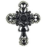 Large Cross Rhinestone Statement Big Stretch Cocktail Ring (Black Grey Silver Tone Filigree)