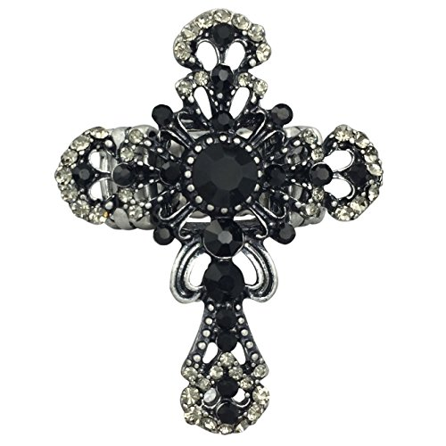 Gypsy Jewels Large Cross Rhinestone Statement Big Stretch Cocktail Ring (Black Grey Silver Tone Filigree)