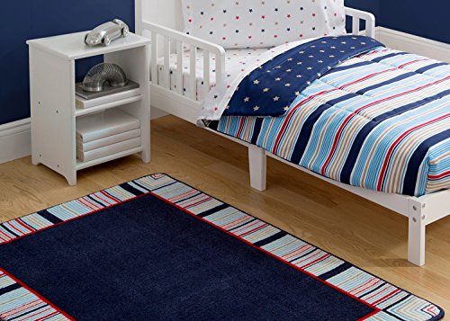 Delta Children Soft Kids Area Rug (2.5 foot x 4 foot) Boys All American Stripes |Red, Blue, Tan (Red Stripe Rug)