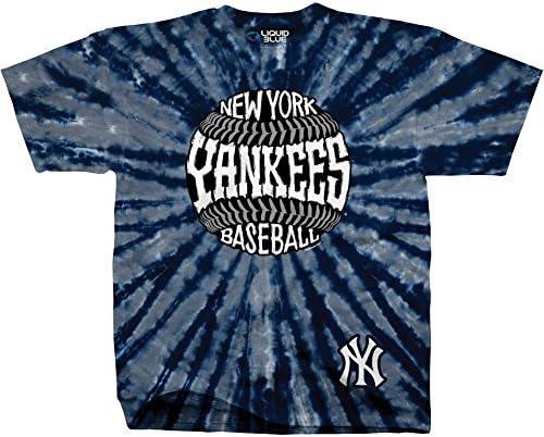 Liquid Blue Unisex Adult MLB Burst Tie-Dye T-Shirt - Short Sleeve - New York Yankees - XXL