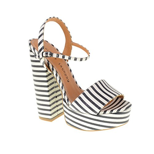 Chinese Laundry Women's Abie Platform Sandal, Black/White Stripe,  9 M US