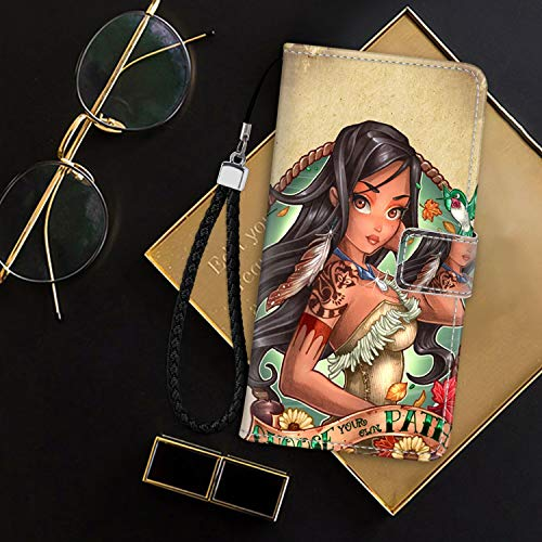 DISNEY COLLECTION Wallet Cover Case Fit for Apple iPhone 8 (2017)/iPhone 7 (2016) [4.7-Inch] Disney Princess Pocahontas Tattoo Good Looking]()