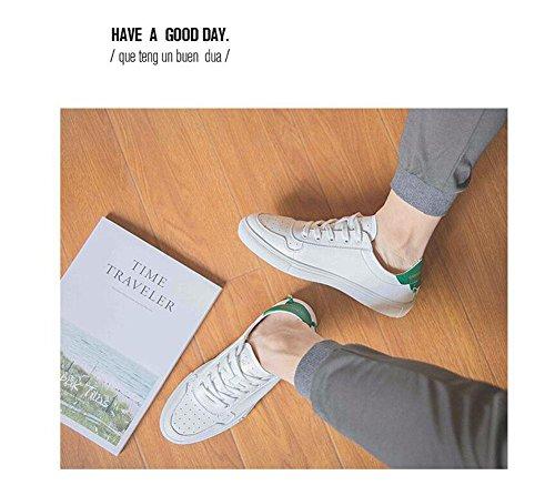 Männer Lace-Up Flats Skateboard Schuhe Kleine weiße Schuhe Sommer Hollow Breathable Freizeit Schuhe Driving Schuhe Weiche Leder Schuhe , green , 41
