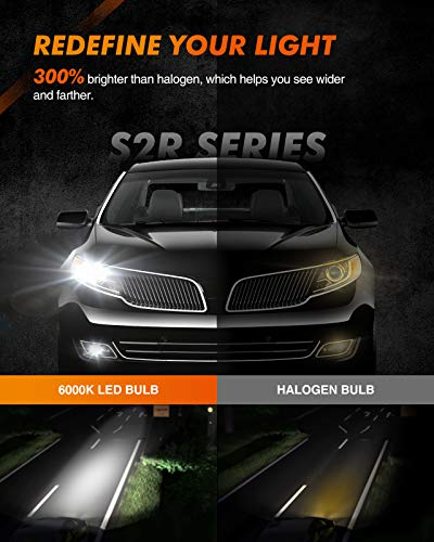 SEALIGHT S2 H11/H8/H9 LED Headlight Bulbs, Low Beam, 12000 Lumens,90 Degrees Base Like Halogen Bulbs, +100% extra Night Driving Vision 6000K LED Bulb Conversion Kit with Fan,Pack of 2
