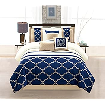 and king set blue sets comforter navy white