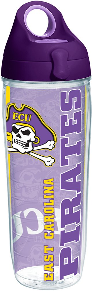Tervis 1219903 East Carolina Pirates College Pride Tumbler with Wrap and Purple Lid 24oz Water Bottle, Clear
