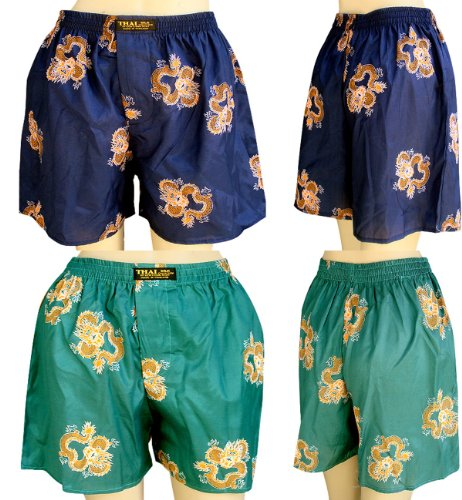 Thai Boxer Costume (2 X Men's Thai Silk Boxer Shorts- with Dragon Design On Sell With Complimentary)