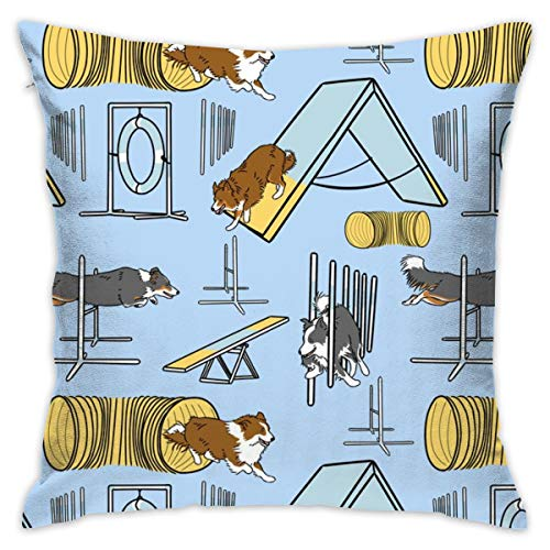topsaleA Simple Border Collie Agility Dogs A Throw Pillow Covers Soft Particles Cotton Linen Cushion Covers 18 X 18 inch for Couch Bedroom Car