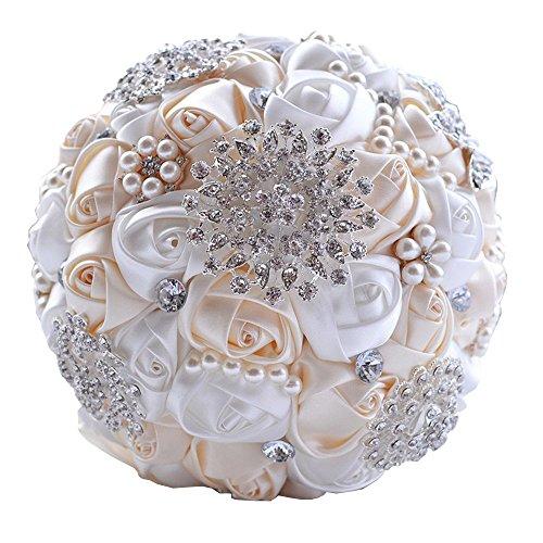 JACKCSALE Wedding Bouquet Bride Bouquet Bridal Brooch Bouquet Bridesmaid Bouquet Flowers Valentine's Day (creamy + white) - Floral Bouquet Brooch