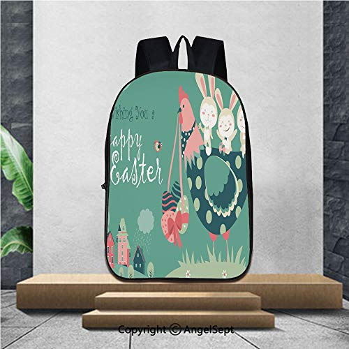 Lightweight Backpacks Casual School Bags,Easter bunnies chicken and easter eggs,16.5
