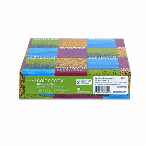 Mohawk - 100% Recycled Color Copy/Laser Paper, 96 Brightness, 28lb, Letter, 500 Sheets - Pack of 12 by Mohawk Color Copy