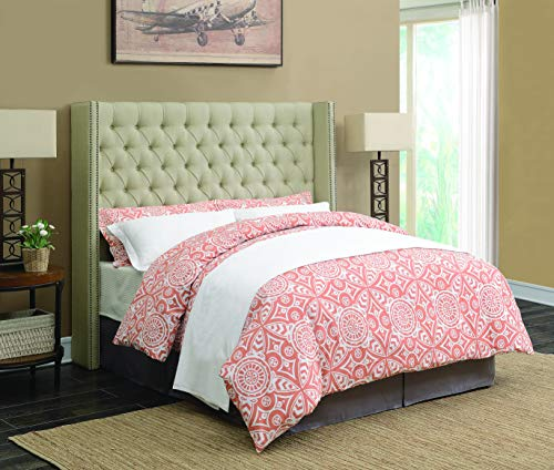Benicia Upholstered Queen Bed with Demi-wings and Button Tuf