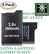 PSP Battery Pack,( 2 Pack) SONY 1000 3.6V 3600mAh Pack of 2 Replacement PSP 1000 Batteries.