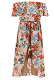 Big Girl Off Shoulder High Low Maxi Skirt Romper Casual Summer Birthday Outfit Coral 12 JKS 2137
