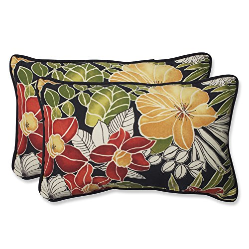 Pillow Perfect Outdoor Clemens Rectangular Throw Pillow, Noir, Set of 2