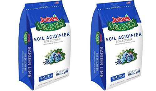 Jobe's Organics Soil Acidifier for Hollies, Blueberries and Other Acid Loving Plants, Turns Hydrangeas Blue, 6 pound bag (2, Soil Acidifier)
