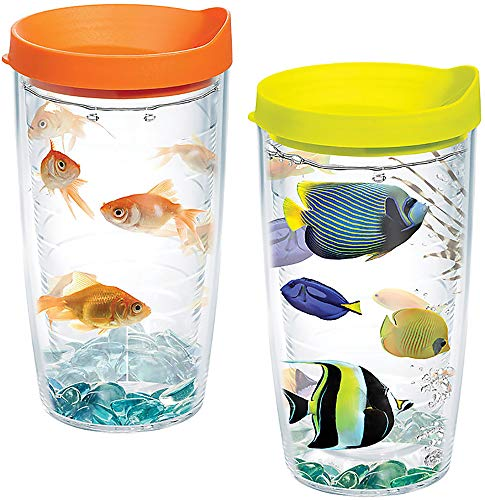 Tervis 1132404 Fun Fish Insulated Tumbler with Wrap and Assorted Lid 2 Pack - Boxed, 16oz, Clear