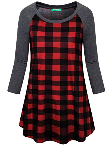 Kimmery Tunic Tops For Leggings For Women, Ladies Classic Petite Fit Three Quarter Sleeve Tees Attractive Crewneck Plaid Shirts Graceful Contrast Color Blouse Red Plaid (Classic Petite Blouse)