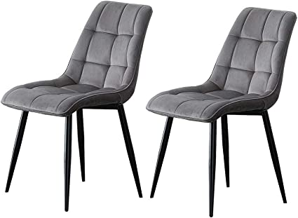 Tukailai Set Of 2 Grey Velvet Dining Chairs Soft Seat Living Room Chairs With Sturdy Metal Legs 2pcs Kitchen Chairs For Dining Room Living Room Reception Chairs Amazon Co Uk Kitchen Home
