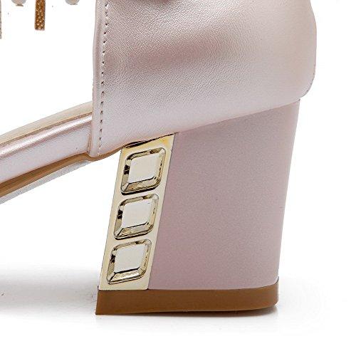 AllhqFashion Damen Weiches Material Mittler Absatz Rund Zehe Schnalle Pumps Schuhe Pink