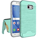 Galaxy A5 2017 Case, Samsung Galaxy A5 2017 Case OEAGO [Card Slot] [Brushed Texture] Heavy Duty Hybrid Dual Layer Wallet Case Cover Shell with Kickstand for Samsung Galaxy A5 (2017) - Mint