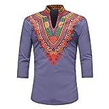 iZHH Men's Shirt Luxury African Print Half Sleeve Dashiki Shirt Top Blouse T Shirt Purple