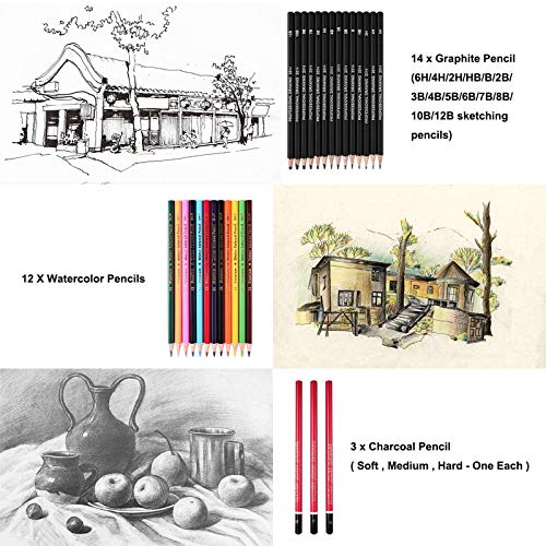 39 Pieces Sketch and Painting Art Supplies Set, Drawing Pencils and Sketching Tools Kit with Graphite Pencils, Charcoal Pencils, Watercolor Pencils,Paper Erasable Pen, Great Gift for Kids Adults
