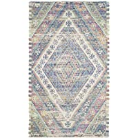 Safavieh Safran Collection SFN558A Hand-loomed Royal Blue and Fuchsia Distressed Bohemian Cotton Area Rug (3 x 5)