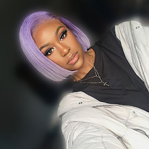 ZHANGXIUZHU WIG 10inch Fashion Light Purple Bob Hair Synthetic Hair Lace Front Wig For Women 150% Density]()