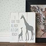 Sign Plaque I Love You As High As I Can Reach Baby Giraffe Rustic Handpainted Woodland Safari Nursery Jungle Bedroom Primitive Nursery Decor Decoration Wall Art Door Hanging