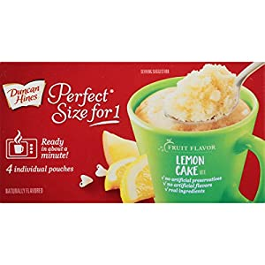 Duncan Hines Perfect Size for 1 Mug Cake Mix, Ready in About a Minute, Lemon Cake, 4 Individual Pouches