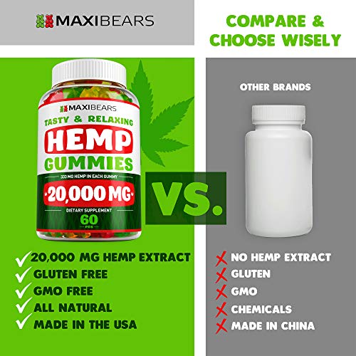 51xuHe44g7L - Hemp Gummies - 20000 MG - 333 MG per Gummy - Pain, Stress, Insomnia & Anxiety Relief - Made in USA - Tasty & Relaxing Herbal Gummies - Premium Extract - Mood & Immune Support
