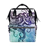 WOZO Abstract Octopus Kraken Multi-function Diaper Bags Backpack Travel Bag