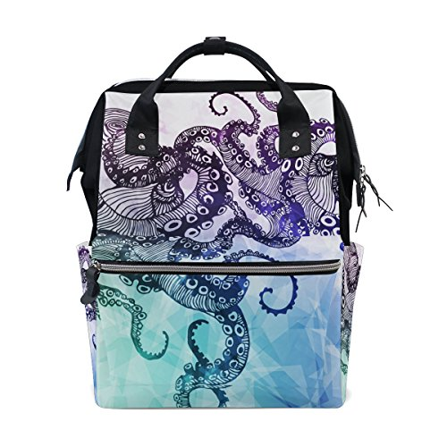 WOZO Abstract Octopus Kraken Multi-function Diaper Bags Backpack Travel Bag by WOZO