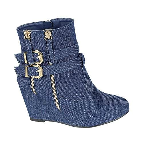 Women's Wedge Ankle Boots High Top Low Mid Heel Fashion-Sneakers Ankle Straps Double Zipper Casual Booties Blue 8 (Ankle Strap Sneakers)