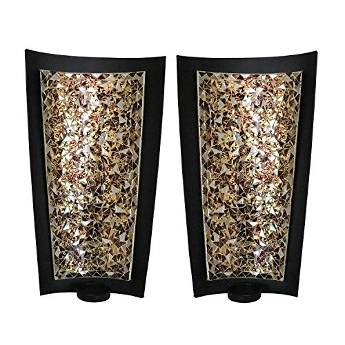 DecorShore Mosaic Wall Sconces Tealight Candle Holders - Abstract Metal Wall Art Candle Sconces Pair (Medium - 12 inch) (Sconces Candle Contemporary)