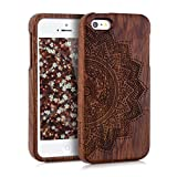 kwmobile Natural wood case with Design half-flower for the Apple iPhone SE / 5 / 5S in rosewood dark brown