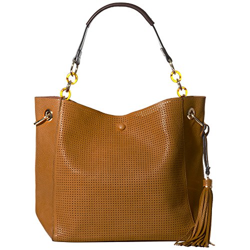 Handbag Republic Women's Vegan Leather Fashion Shoulder Bag Tote Style Tassel Laser Cut Elegant Design