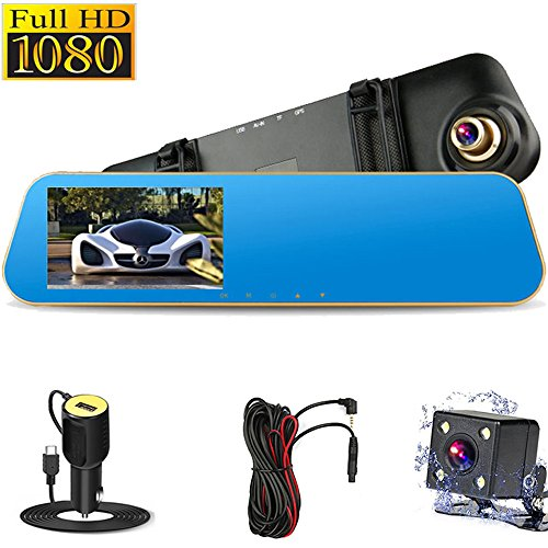 4.3″ FHD 1080P Dual Lens Car Camera Dash Cam DVR Recorder 170°Wide Angle Front and Rear Mirror Backup Camera with G-Sensor, Loop Recording, Night Vision and Parking Mode